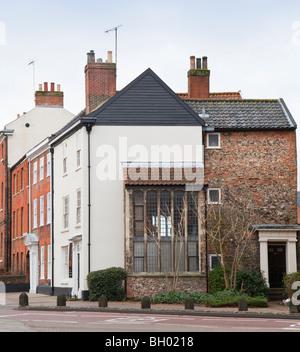 Medieval long window with Georgian facade Palace Plain, Norwich, Norfolk, UK - Stock Photo