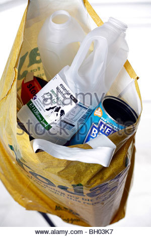 Bag full of recyclable waste - Stock Photo