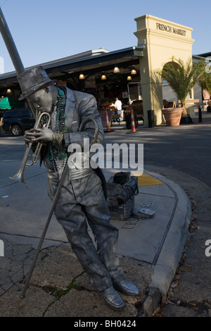 Mime street performer, French Quarter, New Orleans, Louisiana - Stock Photo