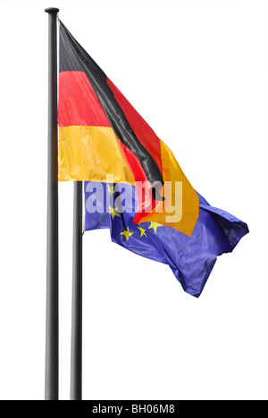 Two flags of Germany and EU. Berlin, Germany - Stock Photo
