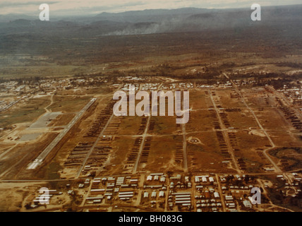 Aerial view of the heliport of the 1st Cavalry Division at An Khe, looking north. - Stock Photo