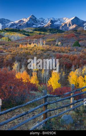 Autumn colors and the Sneffels Range, San Juan Mountains, Dallas Divide, Colorado. - Stock Photo