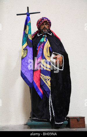 Saints dressed in handmade clothes, Church, Santiago Atitlan, Lake Atitlan, Guatemala, Central America  - Stock Photo