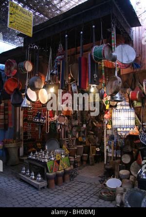 Music instrument shop ('Bob Music')  in the souk of the Medina, Marrakesh - Stock Photo