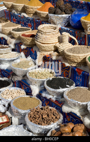 Still life. Baskets of spices on display in Sharm El Sheikh market. Egypt. Africa. - Stock Photo