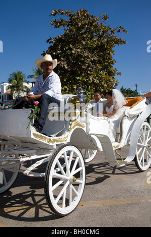 Wedding couple in horse drawn carriage in Huatulco, Mexico. - Stock Photo