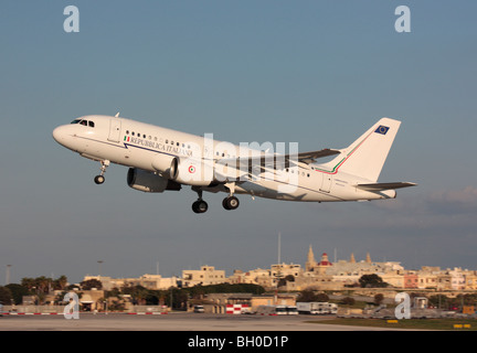 Italian Air Force Airbus ACJ319 (A319CJ) VIP transport plane taking off from Malta after a state visit - Stock Photo