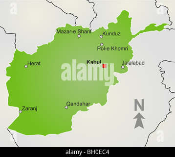 A stylized map of Afghanistan showing different big cities, borders and nearby countries. - Stock Photo