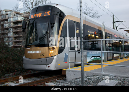 Bombardier Belgian electric streetcar at Cambie Street station during 2010 Winter Olympics trial run - Stock Photo