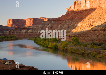 The Green River and the Labyrinth Campground site B, along the White Rim Trail, Island in the Sky District, Canyonlands - Stock Photo