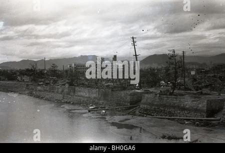 Scene from Hiroshima, Japan in ruins shortly after the Atomic Bomb was dropped - Stock Photo