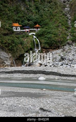 View at the Temple of the Eternal Spring, Taroko Gorge, Taroko National Park, Taiwan, Asia - Stock Photo