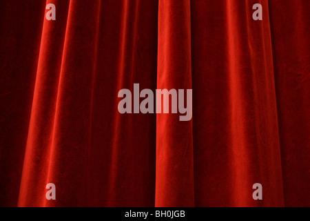 Red velvet curtain at a theater, Pasinger Fabrik, Munich, Bavaria, Germany, Europe - Stock Photo