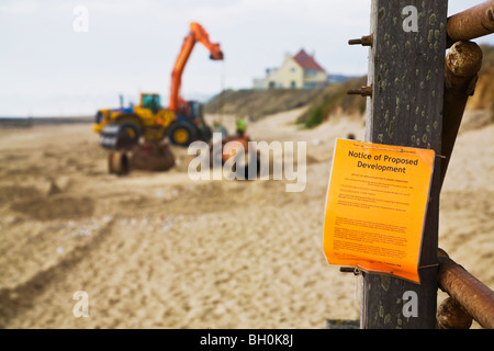 A Planning Notice of proposed maintenance on Bournemouth beach.  Construction of replacement groynes and pipe laying. - Stock Photo