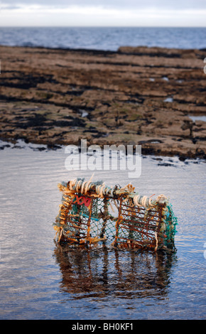 Broken lobster pot washed up on a Northumbrian beach - Stock Photo