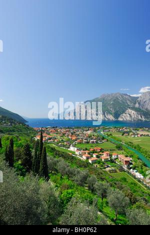 View over Nago-Torbole, Trentino-Alto Adige, Suedtirol, Italy - Stock Photo