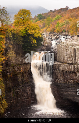 High Force Waterfall at Autumn near Middleton in Teesdale, Teesdale, County Durham - Stock Photo