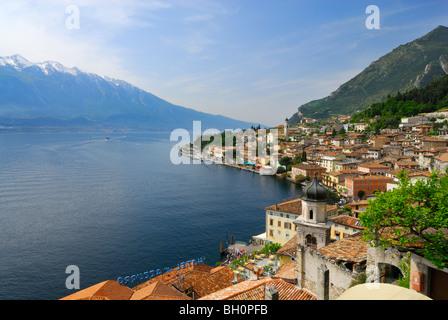 View over Limone sul Garda at lake Garda, Lombardy, Italy - Stock Photo