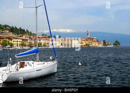 View over lake Garda to old town, Salo, Lombardy, Italy - Stock Photo