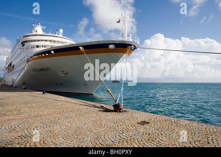 Cruiseship MV Columbus at the pier in the sunlight, Raiatea, Society Islands, French Polynesia, South Pacific, Oceania - Stock Photo