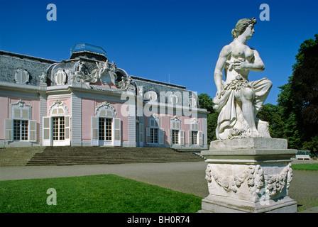 Stone statue in the garden of Benrath castle, Dusseldorf, Lower Rhine Region, North Rhine-Westphalia, Germany - Stock Photo