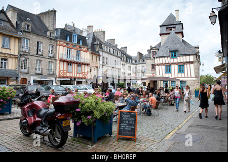 Street cafe in Quimper, Brittany with half timbered medieval buildings in the background - Stock Photo