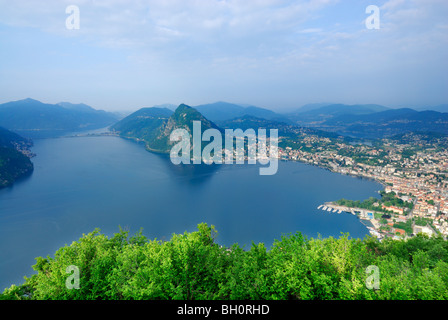 Lake Lugano, Lago di Lugano, with Monte San Salvatore and Lugano, Monte Bre, Lugano, Ticino, Switzerland - Stock Photo