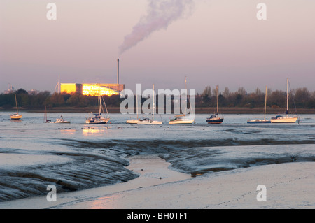 Langstone Harbour at low tide, sunrise, Portsmouth, Hampshire, England, spring. - Stock Photo