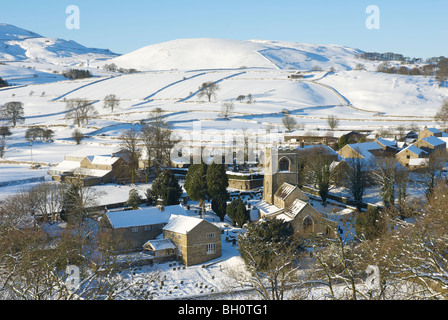 A winter view of Burnsall, Wharfedale, Yorkshire Dales National Park, England UK