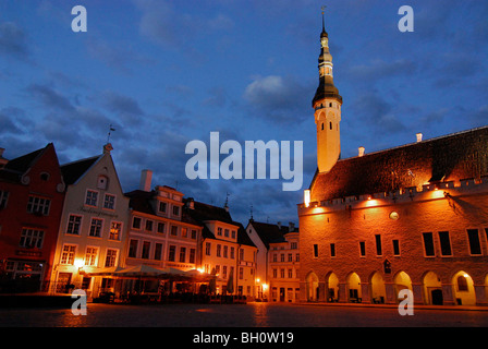 Raekoja Plats, town hall square in the late evening in summer, Tallinn, Estonia - Stock Photo