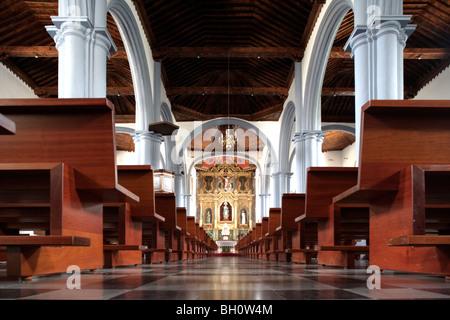 Interior of a church, Nuestra Senora de la concepción, Camino de la Virgin, Valverde, El Hierro, Canary Islands, - Stock Photo