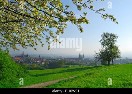 View over Bamberg, Upper Franconia, Bavaria, Germany - Stock Photo