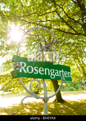 Rose Garden in the Ohlsdorf Cemetery, Hanseatic City of Hamburg, Germany - Stock Photo