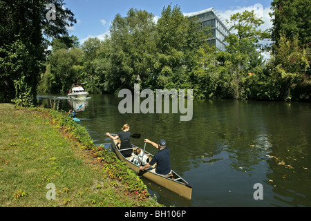 People in a canoe on the Landwehrkanal, Berlin, Germany, Europe
