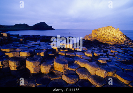 Giant's Causeway, Basalt Columns at the coastline in the light of the evening sun, County Antrim, Ireland, Europe - Stock Photo