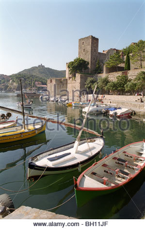 Boats in Collioure harbour, Chateau Royal, Collioure, Languedoc-Roussillon, South France, France - Stock Photo