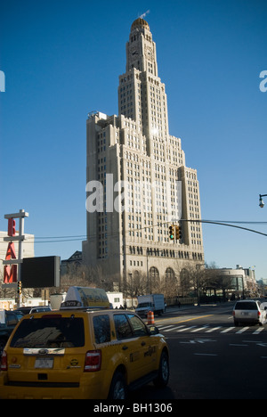 The Williamsburgh Savings Bank building, the tallest building in Brooklyn in New York - Stock Photo
