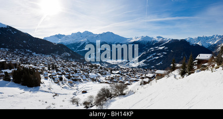 Panoramic view over the resort of Verbier, Valais, Switzerland - Stock Photo