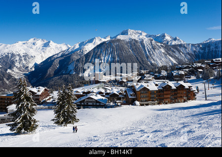 View over the resort centre from the slopes, Courchevel 1850, Three Valleys, Tarentaise, Savoie, France - Stock Photo