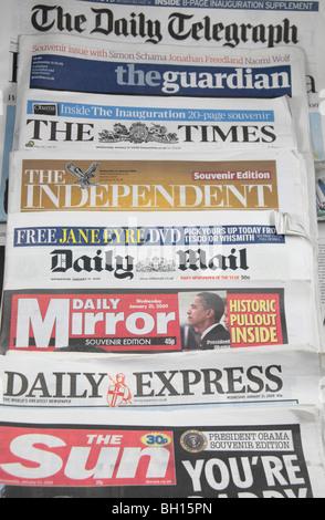 Layout showing a selection of British newspapers mastheads, London, UK, January 2009. - Stock Photo