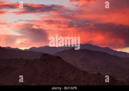 Sunset over the San Jacinto Mountains from Palm Desert and the Coachella Valley, California. - Stock Photo