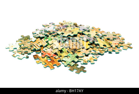 Pile of jigsaw pieces - Stock Photo