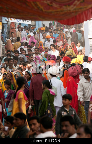 Crowd moving towards Brahma temple at Pushkar fair. - Stock Photo