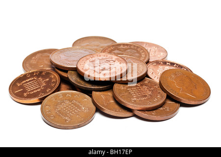 Pile of British uk GBP one pence coins close up - Stock Photo