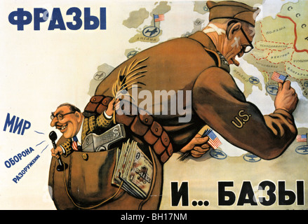 SOVIET UNION poster from about 1952 which accuses America of talking Peace while setting up military bass near Russia - Stock Photo