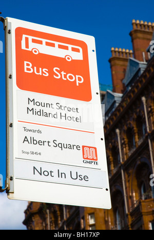 Bus stop Mount Street no in use central Manchester England UK Europe - Stock Photo