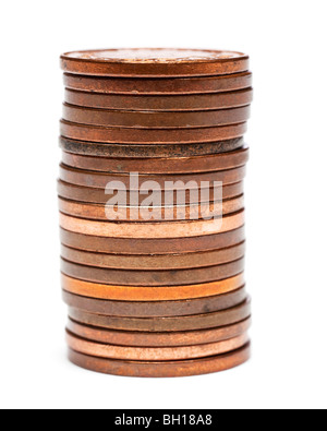 Stack of British one pence pieces close up selective focus - Stock Photo