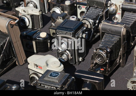 Selection of vintage cameras - Stock Photo