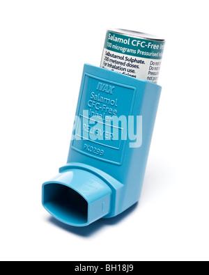 Ventolin / Salbutamol Asthma inhaler close up selective focus - Stock Photo