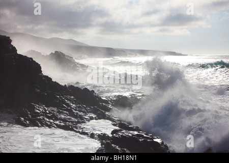 Fuerteventura, Canary island, islands, Spain, wild rough sea seashore coastline at West coast Aguas Verdes - Stock Photo